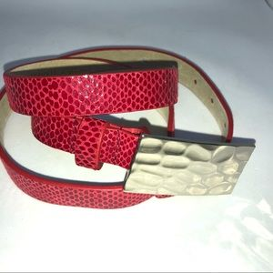 Chicos Red Skinny Leather Croc Belt
